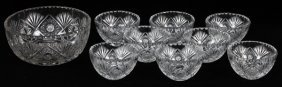 Crystal Fruit Bowl & Dishes 9 Pieces