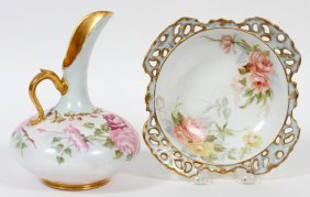 French Porcelain Jug & Austrian Porcelain Bowl