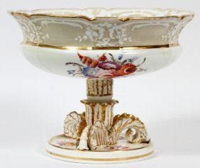 English Porcelain Fruit Compote 19th C