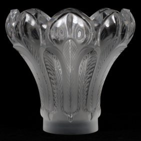Lalique 'esna' Clear & Frosted Glass Vase