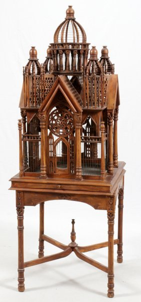 Cathedral Style Walnut Birdcage