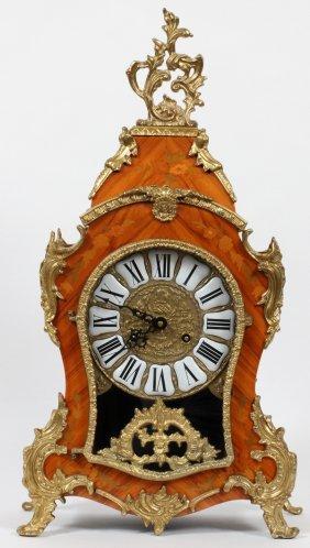 Louis Xv Style Marquetry & Gilt Metal Bracket Clock