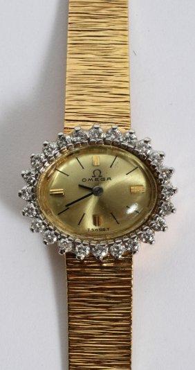Omega 14kt Yellow Gold & 1ct Diamond Wristwatch