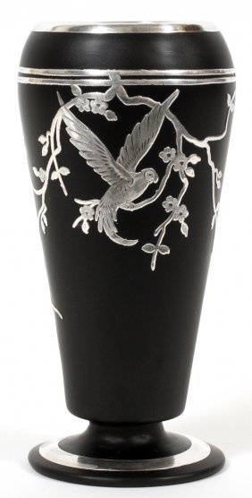 Art Deco Silver Overlay Black Glass Vase C. 1920