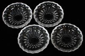 Val St. Lambert Crystal Coasters/ashtrays Four