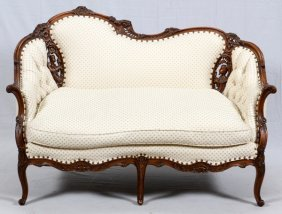 Carved Walnut Settee C. 1940