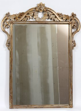 Italian Style Gilt & Silvered Wood Mirror