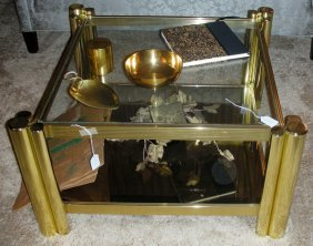 Brass Frame Contemporary Coffee Table