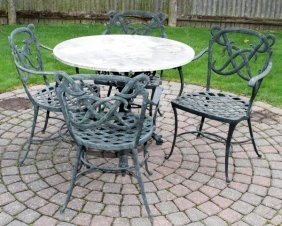 Brown Jordan Cast Aluminum Patio Table & Armchairs
