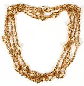 Gold Tone Patinated Metal & Faux Pearl Necklace