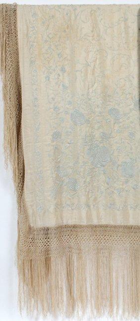 Chinese Silk-embroidered Silk Piano Shawl C. 1930