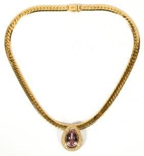 Gold Herringbone Kunzite And 4ct Diamond Necklace