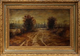 Talbot Oil On Canvas Landscape 19th C.