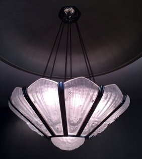 Attributed To Genet Et Michon Glass Chandelier