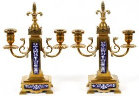 French Bronze And Porcelain Candelabra Pair