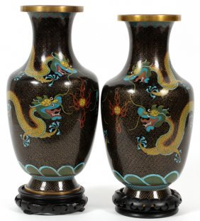 Chinese Cloisonne Decorative Vases Pair
