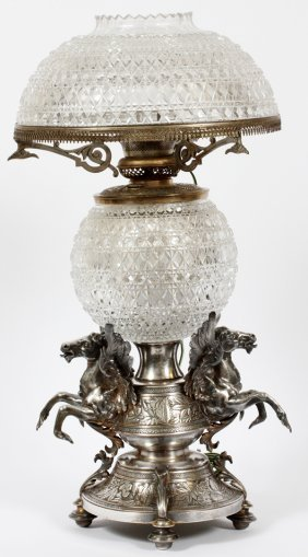 VICTORIAN SILVER PLATE AND CRYSTAL LAMP