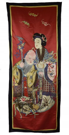 Embroidered God Of Longevity Silk Panel, 19th C.