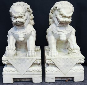 A Pair Of White Granite Guardian Lions, 20th Cent.