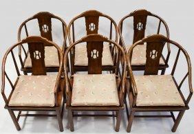 6 Henredon Barrel Back Wooden Arm Chairs
