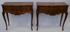 Pair Of Single-drawer Wooden Tables