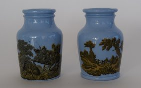 2 Small Blue Vases