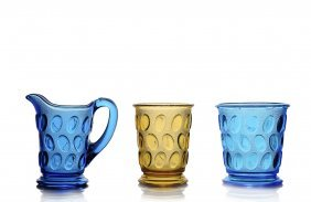 (2) Cups & (1) Pitcher, Egg In Sand Pattern, Eapg