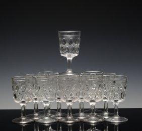 12 Clear Glass Goblets, Egg In Sand Pattern, Eapg