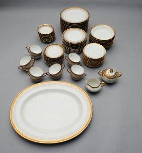 85 Piece Limoges Gilt Rimmed Dinnerware, C. 1910