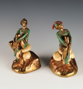 "Pair Of ""peter Pan"" Marion Bronze Clad Bookends"