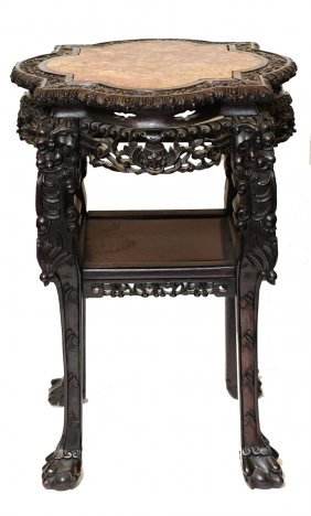 Red Marble Top Carved Dark Wood Asian Style Table