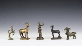 Group Of Five Bronze & Brass Figurines
