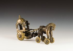 Brass Horse & Cart Toy From India