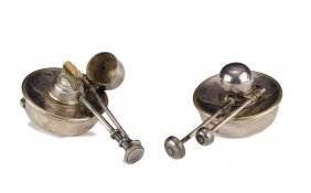 Pair Sterling Silver Plated Chafing Dish Burners