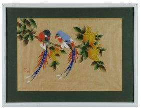 Chinese Watercolor Of Birds