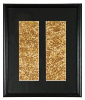 Framed Pair Of Golden Embroideries
