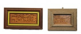 (2) Small Asian Style Framed Wooden Carvings