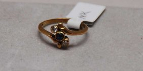 14kt Sapphire And Diamond Ring Bezel Set Stones