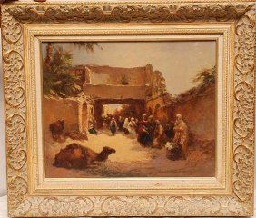 Orientalist, Oil On Canvas, Marketplace With Came