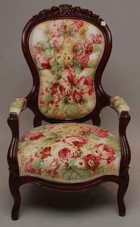 228b Single Victorian Chair Floral Fabric Lot 228b
