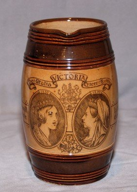 English Pottery, Brown Jug Commemorating Victoria, 7
