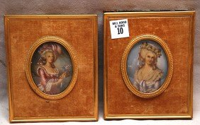 Pair Painted Portraits On Celluloid In Oval Ivory F