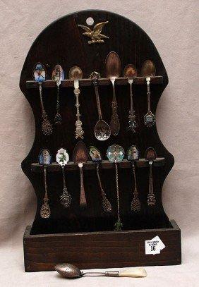 Collection Of Souvenir Spoons, Silver & Silver Plat