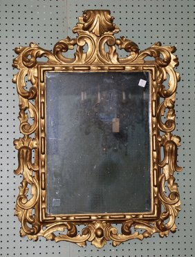 "Antique Carved Giltwood Mirror, 37""h"