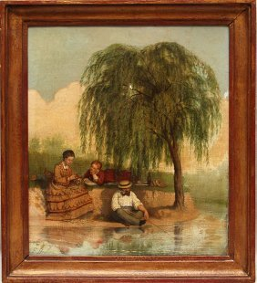 """Dutch School, F. Brunelli Oil On Relined Canvas, """"F"""