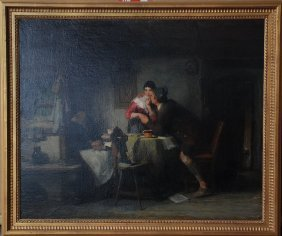 Friedrich Ortlieb (GERMAN, 1839-1909) Oil Interior