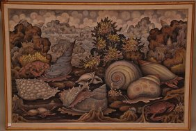 Large Bali Painting On Canvas, Signed Lower Right -S