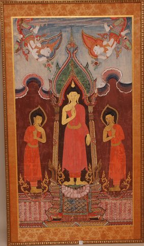 Large Tibetan Deity Painting, Oil On Canvas