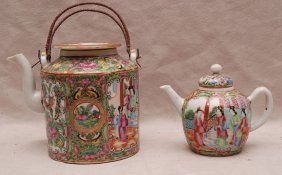 "2 Rose Medallion Teapots, 6""h & 4""h"