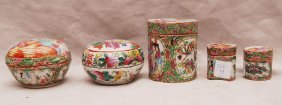 5 Assorted Rose Medallion Covered Boxes (some Damage